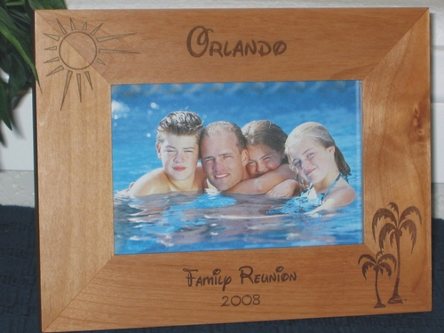 Orlando Picture Frame - Personalized Frame - Laser Engraved Palms & Sun