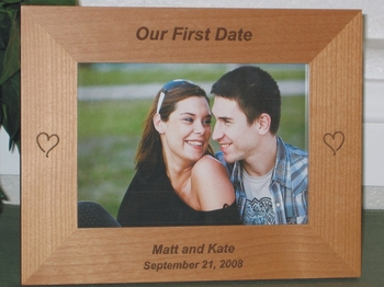Our First Date Picture Frame - Personalized Frame - Laser Engraved Hearts