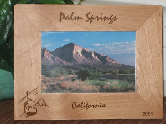 Palm Springs Picture Frame - Personalized Souvenir Frame - Laser Engraved Tram Ride