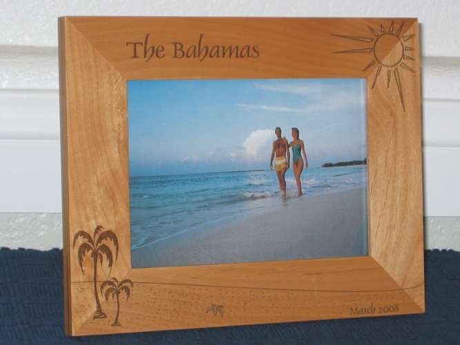 Palm Tree Picture Frame - Personalized Frame - Laser Engraved Beach and Palms