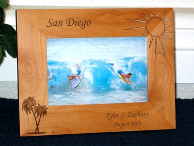 Palm Tree Picture Frame - Personalized Frame - Laser Engraved Tropical Palm & Sun