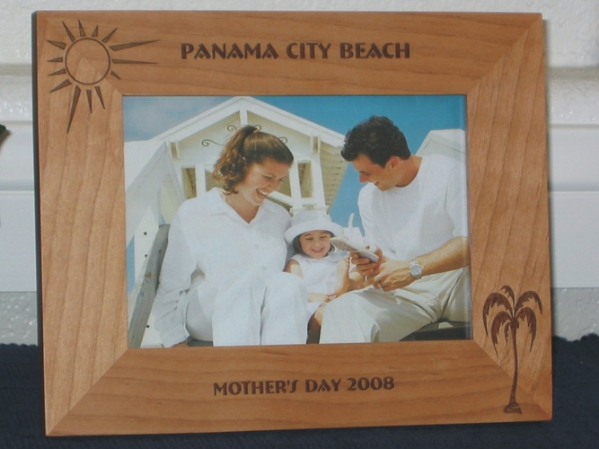 Panama City Beach Picture Frame - Personalized Frame - Laser Engraved Sun & Palm