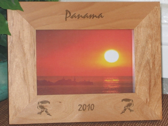 Panama Picture Frame - Personalized Frame - Laser Engraved Toucans