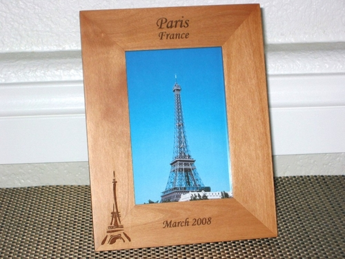 Paris Picture Frame - Personalized Paris Souvenir - Laser Engraved Eiffel Tower Gift