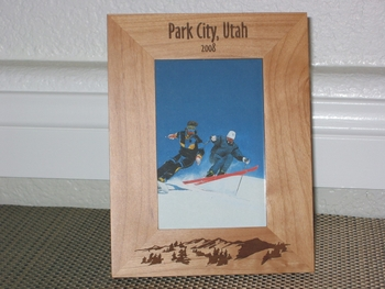 Park City Utah Picture Frame - Personalized Frame - Laser Engraved Mountains