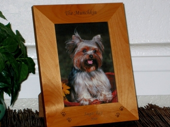 Pawprints Picture Frame - Personalized Pet Frame - Laser Engraved Pawprints