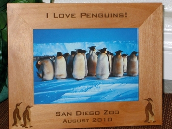 Penguin Picture Frame - Personalized Frame - Laser Engraved Penguins