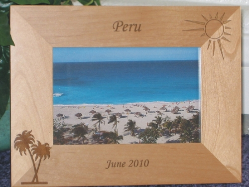 Peru Picture Frame - Personalized Frame - Laser Engraved Palm & Sun