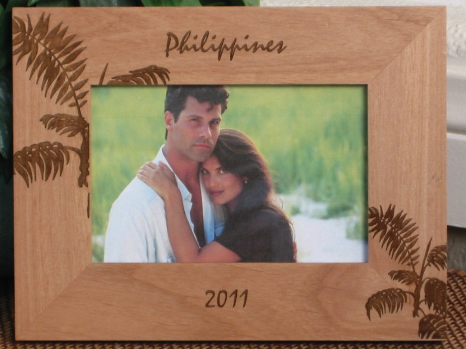 philippines picture frame personalized frame laser engraved tropical palms