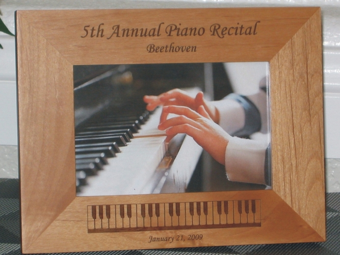 Piano Picture Frame - Personalized Frame - Laser Engraved Piano Keyboard