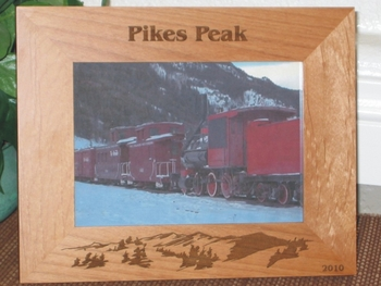 Pikes Peak Picture Frame - Personalized Frame - Laser Engraved Mountains