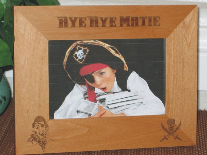Pirate Picture Frame - Personalized Frame - Laser Engraved Pirates