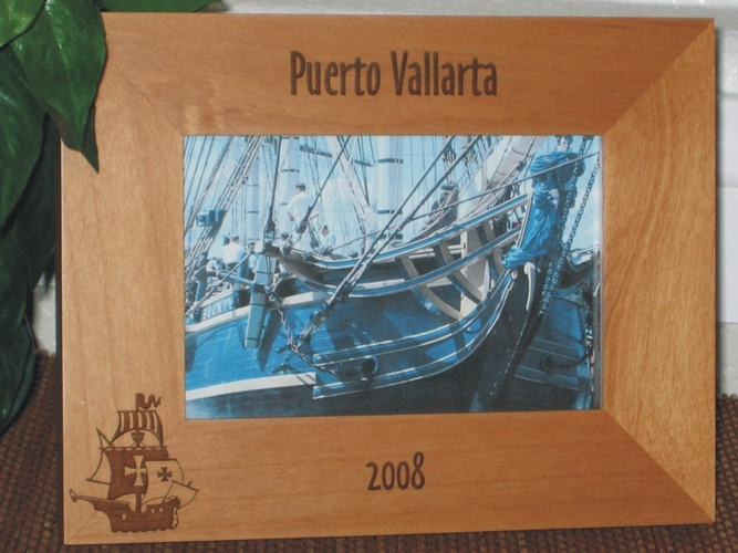 Pirate Ship Picture Frame - Personalized Frame - Laser Engraved Pirate Ship