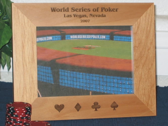 Poker Picture Frame - Personalized Frame - Laser Engraved Heart - Club - Spade - Diamond