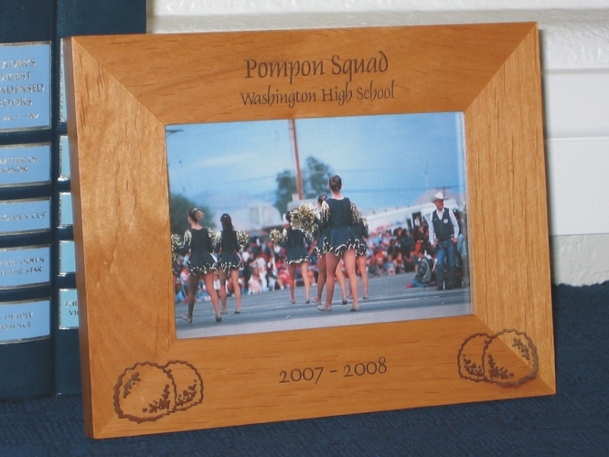Pompon Picture Frame - Personalized Frame - Laser Engraved Pompons for Pompon Squad or Cheerleader