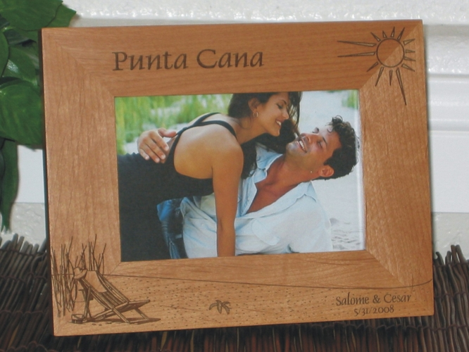 Punta Cana Picture Frame - Personalized Frame - Laser Engraved Beach Theme