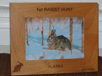 Rabbit Picture Frame - Personalized Hunting Souvenir Frame - Laser Engraved Rabbit