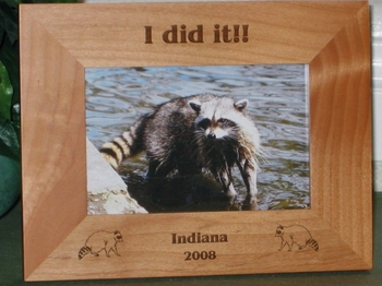 Raccoon Picture Frame - Personalized Hunting Frame - Laser Engraved Raccoons