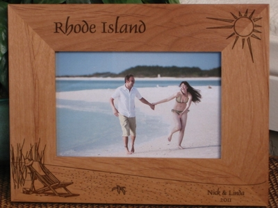 Rhode Island Picture Frame - Personalized Frame - Laser Engraved Beach Theme