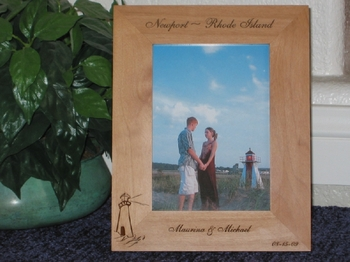 Rhode Island Picture Frame - Personalized Frame - Laser Engraved Lighthouse