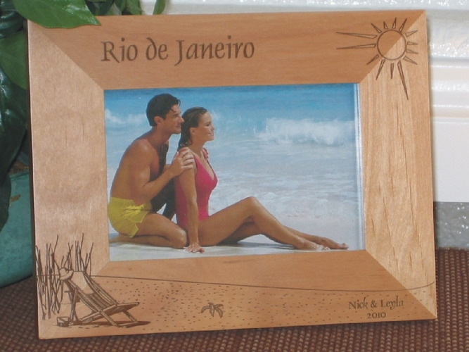 Rio de Janeiro Picture Frame - Personalized Frame - Laser Engraved Beach Theme
