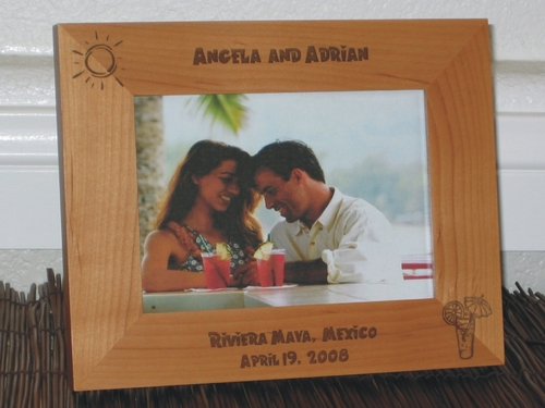 Riviera Maya Picture Frame - Personalized Frame - Laser Engraved Tropical Drink & Sun