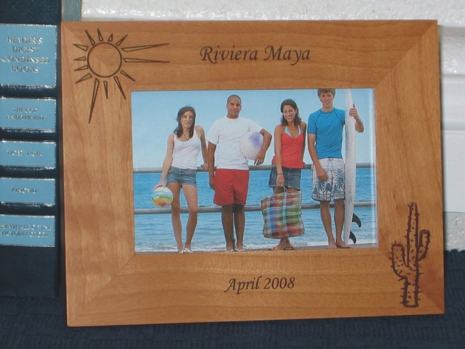 Riviera Maya Picture Frame - Personalized Souvenir Frame - Laser Engraved Sun & Cactus or Palm