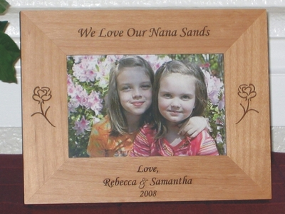 Rose Picture Frame - Personalized Frame - Laser Engraved Roses (1)