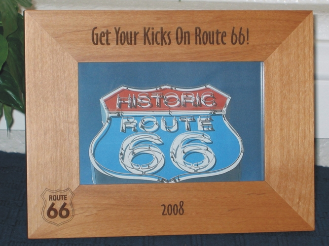 Route 66 Picture Frame - Personalized Frame - Laser Engraved Route 66 Sign