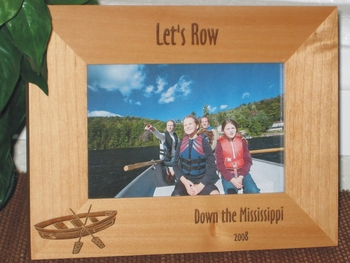 Row Boat Picture Frame - Personalized Frame - Laser Engraved Row Boat & Paddles
