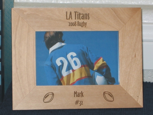 Rugby Picture Frame - Personalized Frame - Laser Engraved Rugby Balls