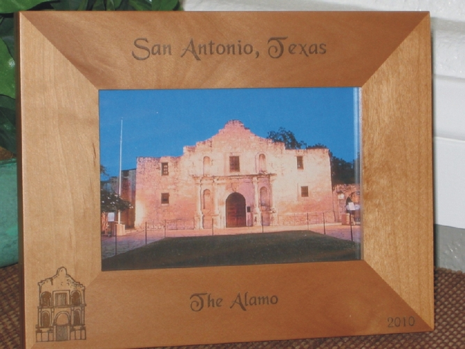 San Antonio Picture Frame - Personalized Frame - Laser Engraved Alamo