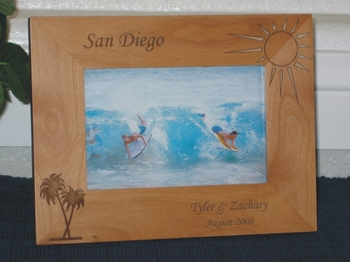 San Diego Picture Frame - Personalized Frame - Laser Engraved Palm & Sun