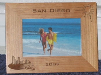 San Diego Picture Frame - Personalized Frame - Laser Engraved San Diego Bay