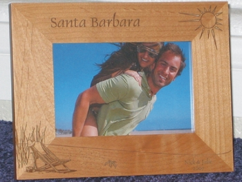 Santa Barbara Picture Frame - Personalized Frame - Laser Engraved Beach Scene