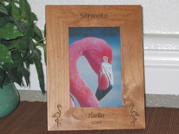 Sarasota Picture Frame - Personalized Frame - Laser Engraved Flamingos