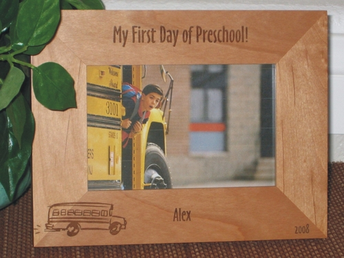 School Bus Picture Frame - Personalized Frame - Laser Engraved School Bus