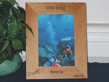 Scuba Diving Picture Frame - Personalized Frame - Laser Engraved Scuba Diver