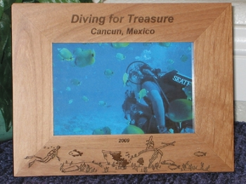 Scuba Diving Theme Picture Frame - Personalized Frame - Laser Engraved Scuba Theme Ship Wreck