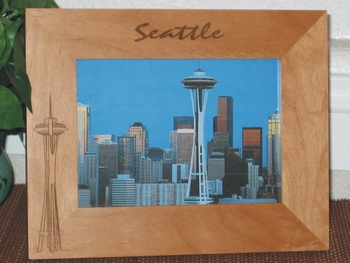 Seattle Picture Frame - Personalized Souvenir Frame - Laser Engraved Space Needle