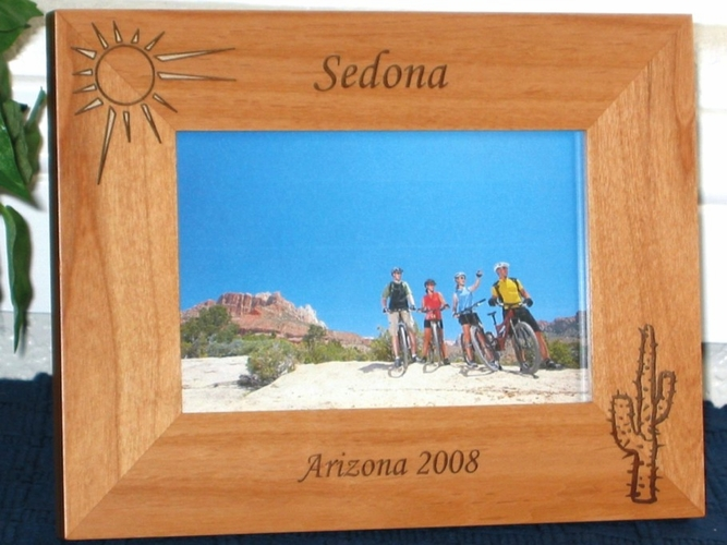 Sedona Picture Frame - Personalized Frame - Laser Engraved Cactus & Sun