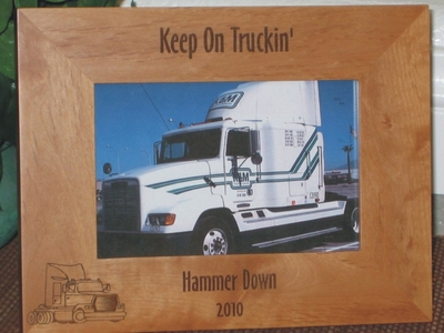 Semi Truck Picture Frame - Personalized Frame - Laser Engraved Semi Truck