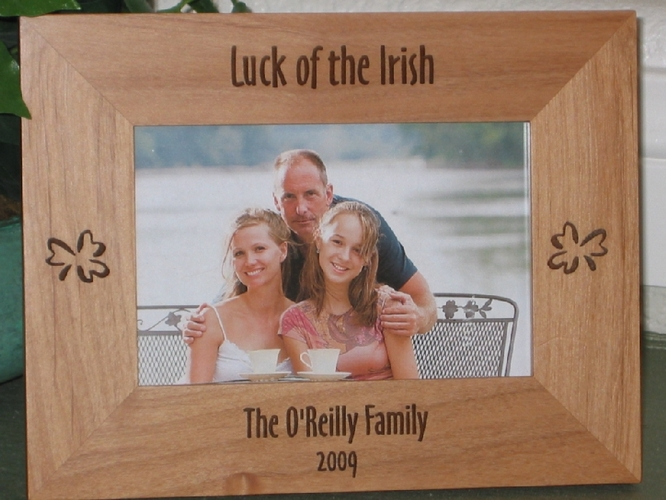 Shamrock Picture Frame - Personalized Frame - Laser Engraved Shamrocks