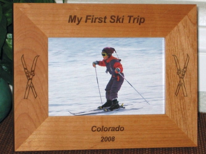 Ski Picture Frame - Personalized Frame - Laser Engraved Skis