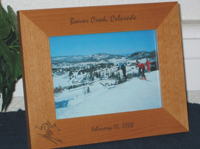 Skiing Picture Frame - Personalized Frame - Laser Engraved Skier