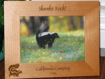 Skunk Picture Frame - Personalized Frame - Laser Engraved Skunk