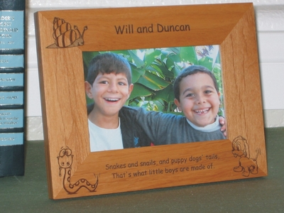 Snakes & Snails Picture Frame - Personalized Frame - Laser Engraved Snake Snail Puppy Dog Tail