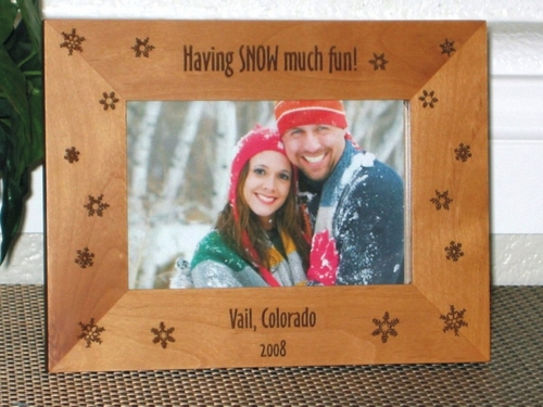 Snow Picture Frame - Personalized Frame - Laser Engraved Snowflakes