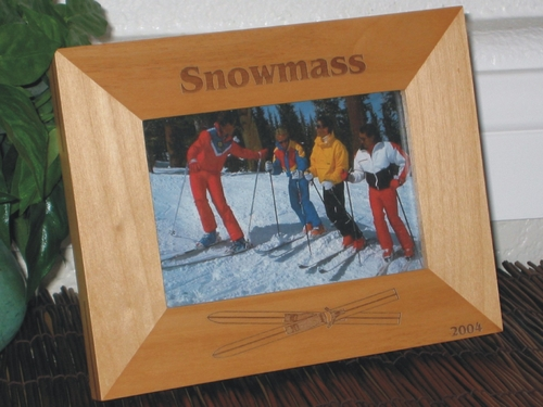 Snowmass Picture Frame - Personalized Frame - Laser Engraved Ski