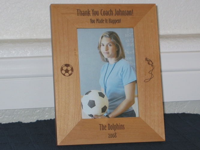 Soccer Coach Picture Frame - Personalized Frame - Laser Engraved Soccer Ball - Whistle